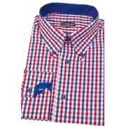 Pánská košile SLIM kostkovaná modrá s červenou Avantgard 124-1812-41/42/182