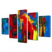 Tablou Canvas Premium Abstract Multicolor Culori Vibrante 2 Decoratiuni Moderne pentru Casa 120 x 225 cm