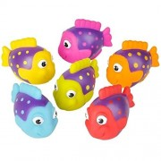"""Neliblu Go Fishing! Bath Toys - 12 Pack Squirting Bath Toys 2"""" Rubber School of Tropical Fish Squirts Baby and Children Bath Toys in Assorted Vivid Colors 1 Dozen"""