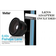 VIVITAR Series 1 0.42X HD Fisheye Ultra Wide Angle Conversion Lens with Macro for Canon M40 M41 M400 M406 HG10 HV20 HV30 and Panasonic HS250 HS300 TM20 TM300 NV-GS250 AG-DVC30 NV-GS150 NV-GS400 - also works with any camera or camcorder with 43mm filter th