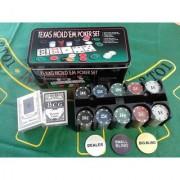 Poker Set 200 Pcs Chips+ 2 Decks of Playing Card Casino in Tin Case