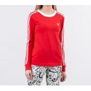 adidas 3 Stripes Long Sleeve Tee Lush Red/ White