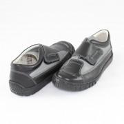 Pantofi piele naturala copii - negru, gri, Marelbo - 107-NegruGri