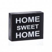 Tábla Home felirattal fa 15x12x4.3cm fekete