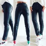 Dámské černé kalhoty - imitace lesklé kůže (38) - V&V