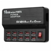 5V 12A 2.0 cargador rapido inteligente USB de 10 puertos - Negro (100 ~ 240V / enchufe de la UE)