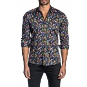 Jared Lang Patterned Long Sleeve Trim Fit Shirt BLACK BUTTERFLY