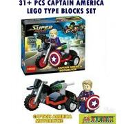 Toy-Station - Super Hero Lego Type Blocks (Captain America Motorcycle)