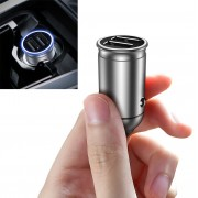 DIVI Car Charger Dual USB Fast Charge Mobile Phone Adapter Indicator Display Voltage - Silver