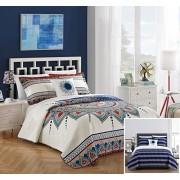 Chic Home Cypress Juego de Funda de edredón Reversible (4 Piezas), Color Azul