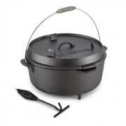HOTROD 145 холандска фурна BBQ съд 12 QT / 11.4 литрa излято желязо черна