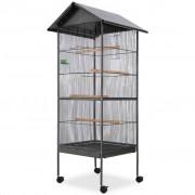vidaXL Bird Cage with Roof Steel Black 66x66x155 cm