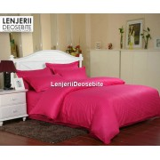 Lenjerie de pat dublu damasc culoarea rosu spal