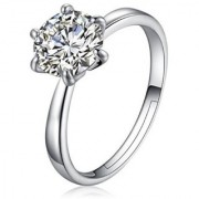 Classy Solitaire Adjustable Ring For Women & Girls Sterling Silver Cubic Zirconia Zirconia 24K White Gold Plated Ring