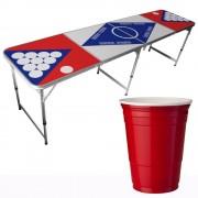StudyShop Billigt Beer Pong Bord inkl. 25 st röda muggar