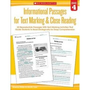Informational Passages for Text Marking & Close Reading: Grade 4: 20 Reproducible Passages with Text-Marking Activities That Guide Students to Read St, Paperback/Martin Lee