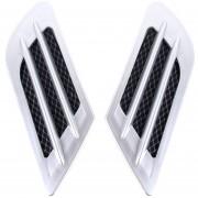 2pcs Plastico Euro Estilo Decorativo De Flujo De Aire Intake Turbo Bonnet Hood Side Vent Grille Cover Con Auto - Adhesivo Sticker (plata)
