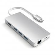 Satechi USB-C Aluminum Multiport 4K Adapter v2 - мултифункционален хъб за свързване на допълнителна периферия за компютри с USB-C (сребрист)
