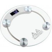 Qoibito Personal Health Bathroom Digital Body Weight Machine Thick Transparent Round Glass Weighing Scale(White)