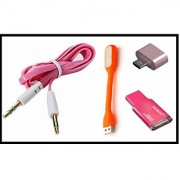 COMBO OF USB LIGHT + OTG ADOPTER + AUX CABLE + CARD READER (ASSORTED COLORS)