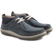 Clarks Gait Mid Blue Nubuck Boots For Men(Blue)