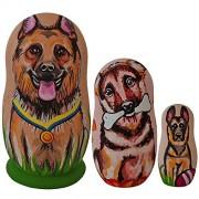 "4.25"" Set Of 3 German Shepherds Dog Wooden Matryoshka Animal Nesting Dolls"