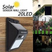 AVMART Outdoor Motion Activated Sensor Solar Panel 20 LED Water Proof 2 Lighting Modes Wall Light (Black) - Pack of 1