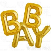 40 Inch Jumbo Helium Foil Mylar Balloons Bouquet (Premium Quality), Glossy Gold, Letters BABY by Balloon Red