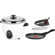 Pigeon Joy 1.8L Electric Rice Cooker (White) with Dry iron and Wondercast Tawa 2020 Special Combo (1 L Double Pot, White, Black, Silver)(1.8 L, White, Black, Silver)