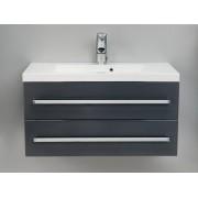 Antado Variete szafka z umywalką, wisząca z dwiema szufladami 80x39x40 grafit połysk 664845/638723