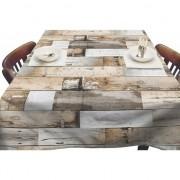 Merkloos Bruin/naturel tuin tafellaken voor buiten planken print 140 x 180 cm PVC/kunststof