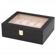 Warren Asher Schwarze Uhrenbox aus Holz für bis zu 10 Uhren