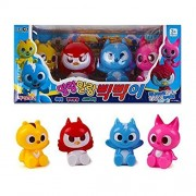 Mini Force Korean Animated Tv Series Non-Toxic Soft Pik-Pik Sound Toy 4 Pcs Set - Animal Superhero Action Animation Comedy