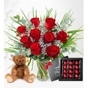 Valentine's Day Bundle - 9 Red Roses with Bear and Luxury Chocs - Valentine's Gifts - Valentine's Gift Delivery