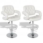 vidaXL Бар столове от изкуствена кожа със заоблени подлакътници, бели - 2 бр