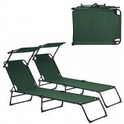 [casa.pro]® 2x Napozóágy napágy 187 x 53 cm állítható háttámla nyugágy napellenzővel összehajtható zöld 2 darab