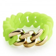 The Rubz Natural Silicone 20mm Unisex Bracelet Neon Green & Gold