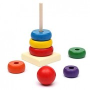 Generic Kids Baby Toy Wooden Stacking Ring Tower Educational Toys Rainbow Stack Up Play