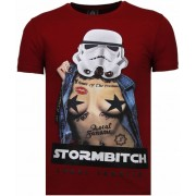 Local Fanatic Stormbitch - Rhinestone T-shirt - Bordeaux