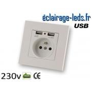 Prise électrique 230v double USB ref pr-01