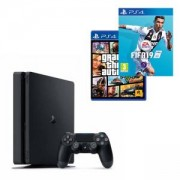Конзола PlayStation 4 Slim 500GB Black + Игра GTAV (GTA5): Grand Theft Auto V за PS4, Игра FIFA 19 за PlayStation 4 - PS4