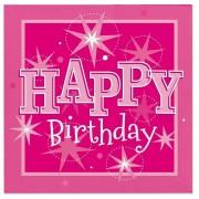 Servetele de masa pentru petrecere roz happy birthday 33 cm, set 20 buc