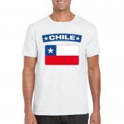 Bellatio Decorations Chileense vlag shirt wit heren