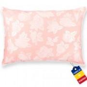 Perna Pernador cu puf si pana de gasca 60x70 cm roz cu trandafiri