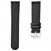 Sidegren Zwart Horlogebandje - Zilveren Gesp