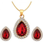 Spargz Gold Plated Oval Shape Green Stone Wedding Fusion Pendant Necklaces With Stud Earrings For Women ALPS 5028
