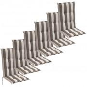 vidaXL Almofadas assento p/ cadeiras jardim 6 pcs 120x52 cm faixa verde