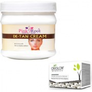 PINK ROOT DE-TAN CREAM 500GM WITH OXYGLOW PEARL BLEACH 50GM