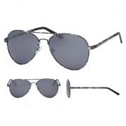 Merkloos Aviator zonnebril legerprint met zwarte glazen voor volwassenen