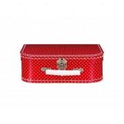 Geen Speelgoed koffertje rood met witte stippen 25 cm